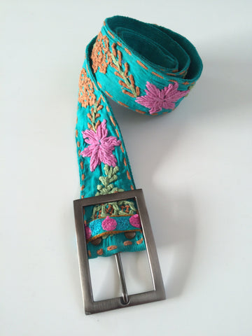 Turquoise Embroidered Belt