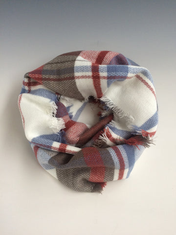 Red, White and Blue Mixed Plaid Infinity Scarf