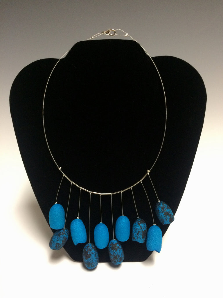 Sophisticated Lady in Blue Silk Necklace