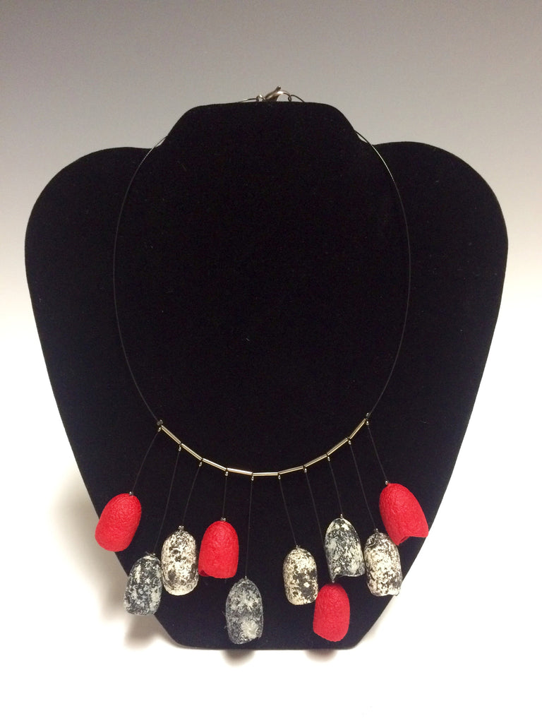 Sophisticated Lady in Red Silk Necklace