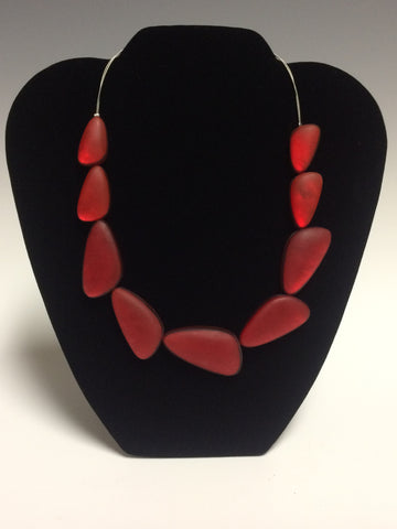 Triangular Red Resin Necklace