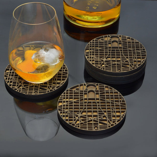 Downtown Grid Wood Coasters (Set of 5)