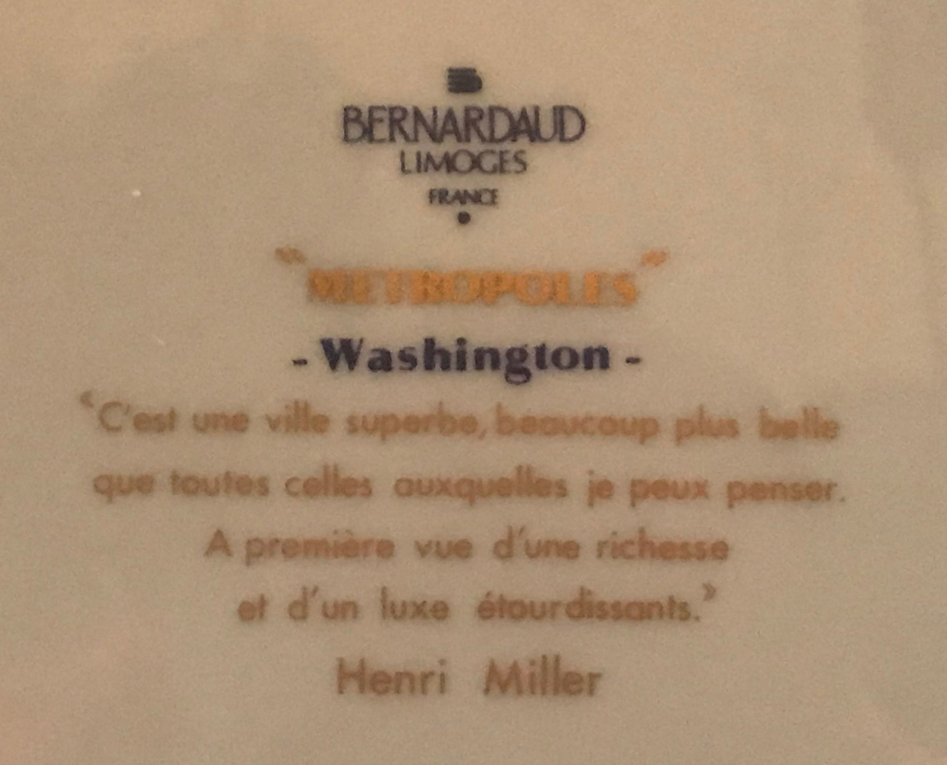 "Bernardaud ""Metropoles"" Washington, DC Dinner Plate"