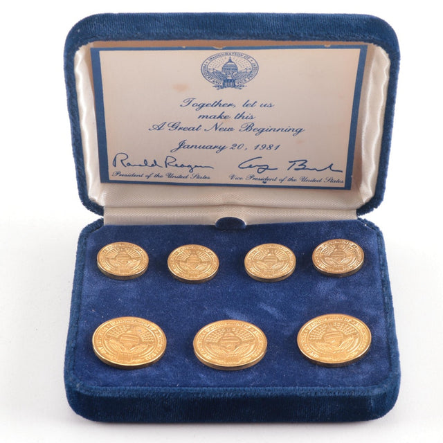 1981 Inauguration Brass Blazer Button Set (Reagan/Bush)