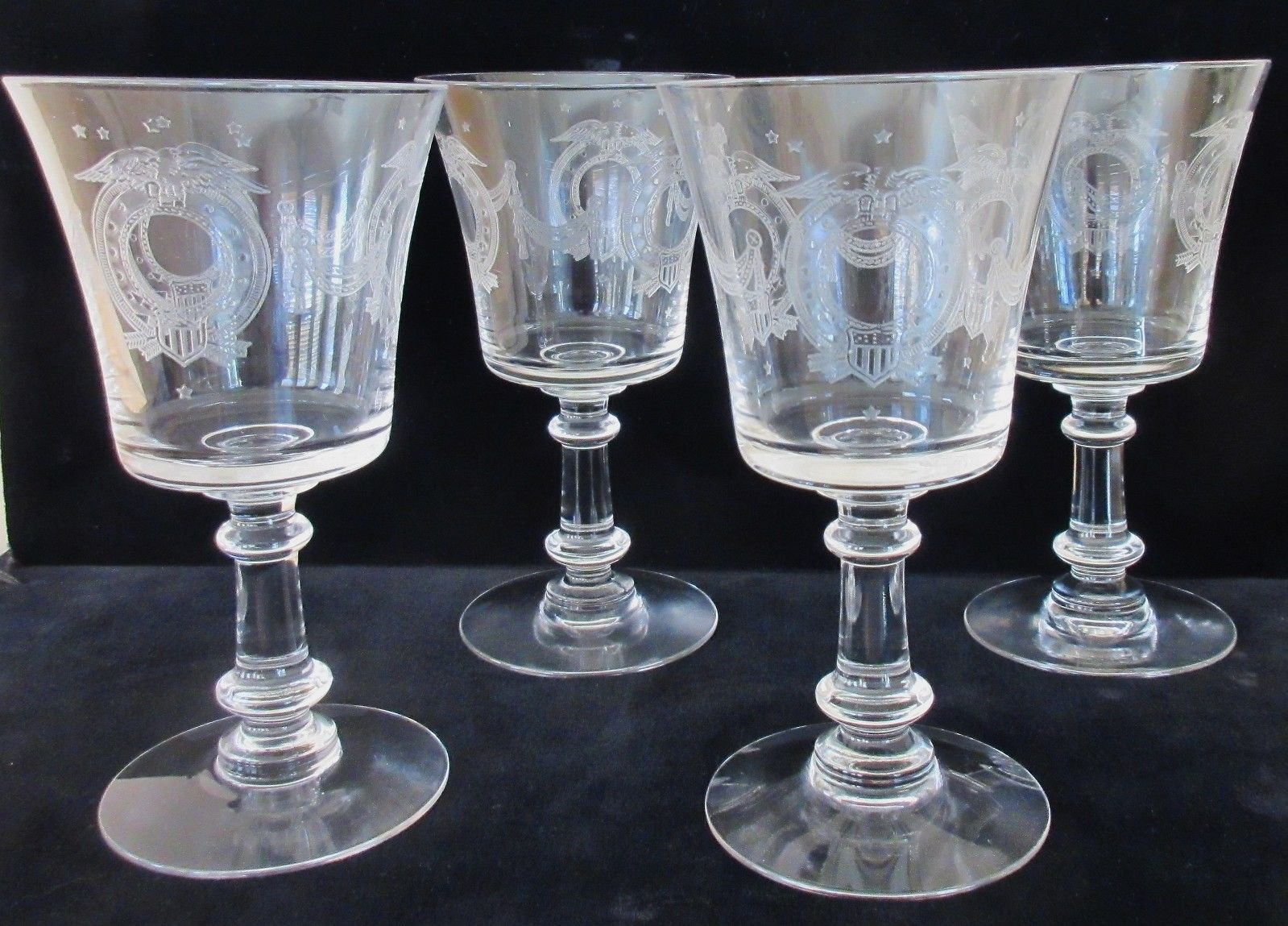 Patriotic Etched Glass Goblets (Set of 8)
