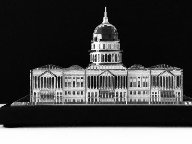 U.S. Capitol Building Scale-Model in Crystal and Silver