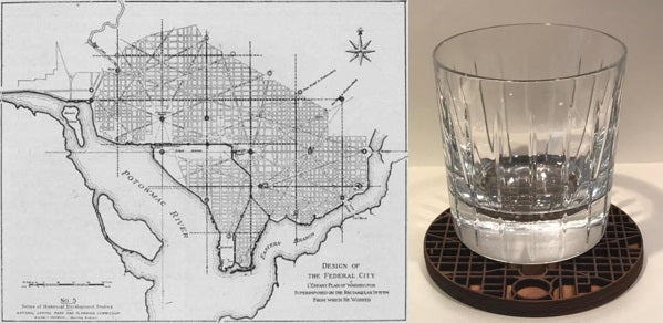 Downtown Grid Wood Coaster Set