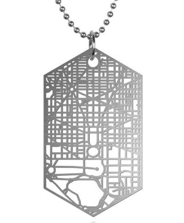 DC City Map Metal Tag and Chain