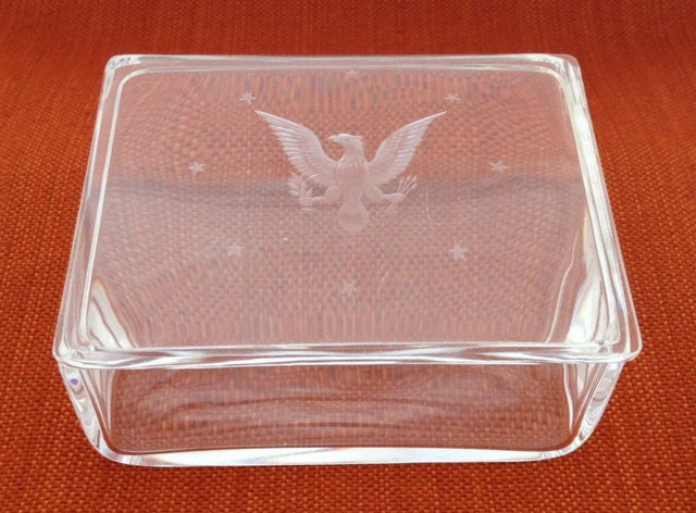 "Steuben Glass ""Great Seal"" Cigarette Box"