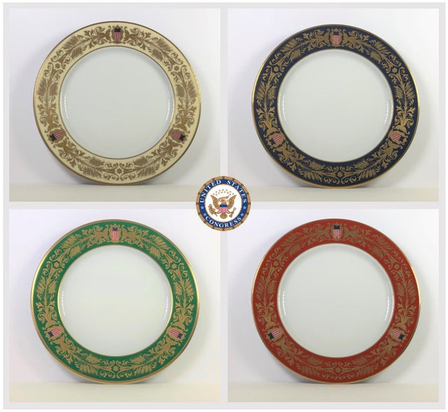 Tiffany & Co. 4-Piece U.S Congress Millennium Plate Set (Circa 1999)