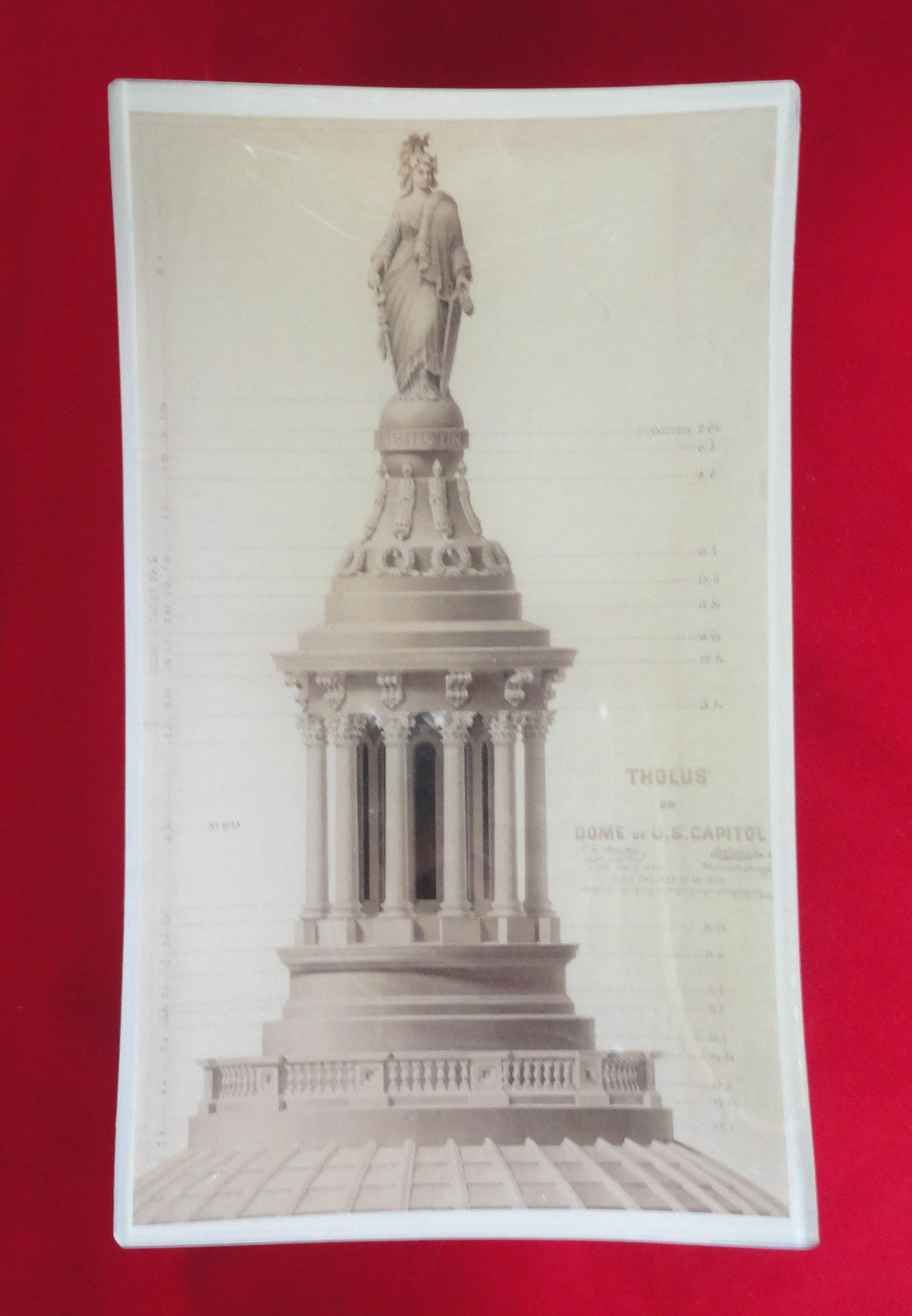 """Elevation of Tholos on Dome of U. S. Capitol"" Decoupage Glass Tray"