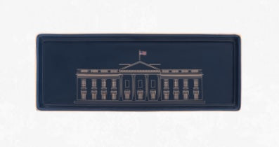 White House Porcelain Tray in Navy Blue and Gold
