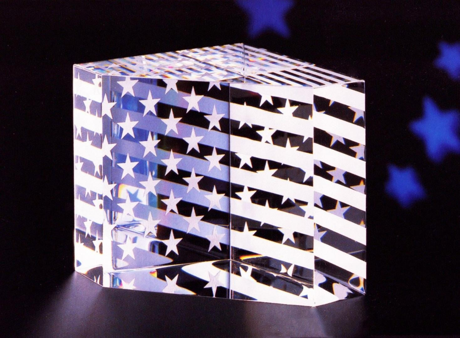 Steuben Stars and Stripes Crystal Paperweight