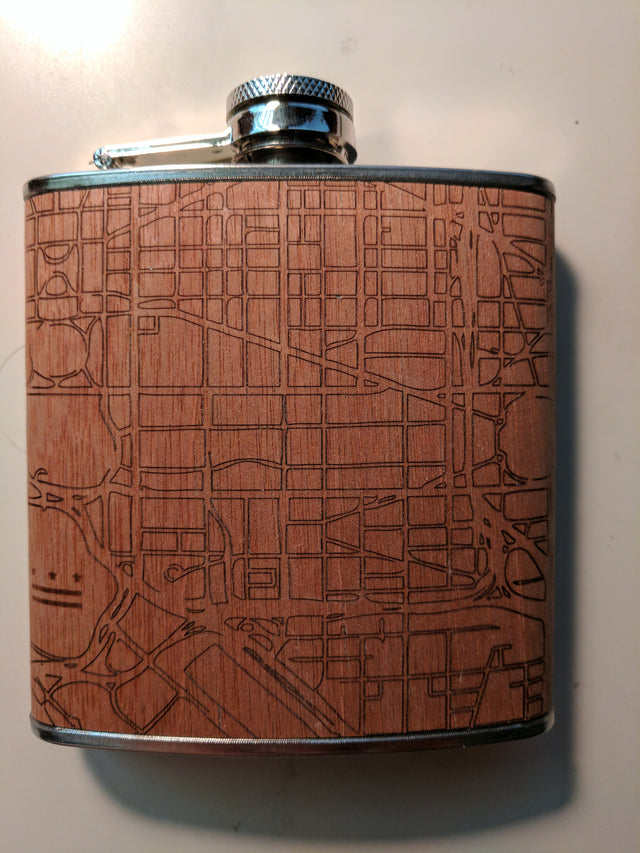 DC City Map Wood Flask