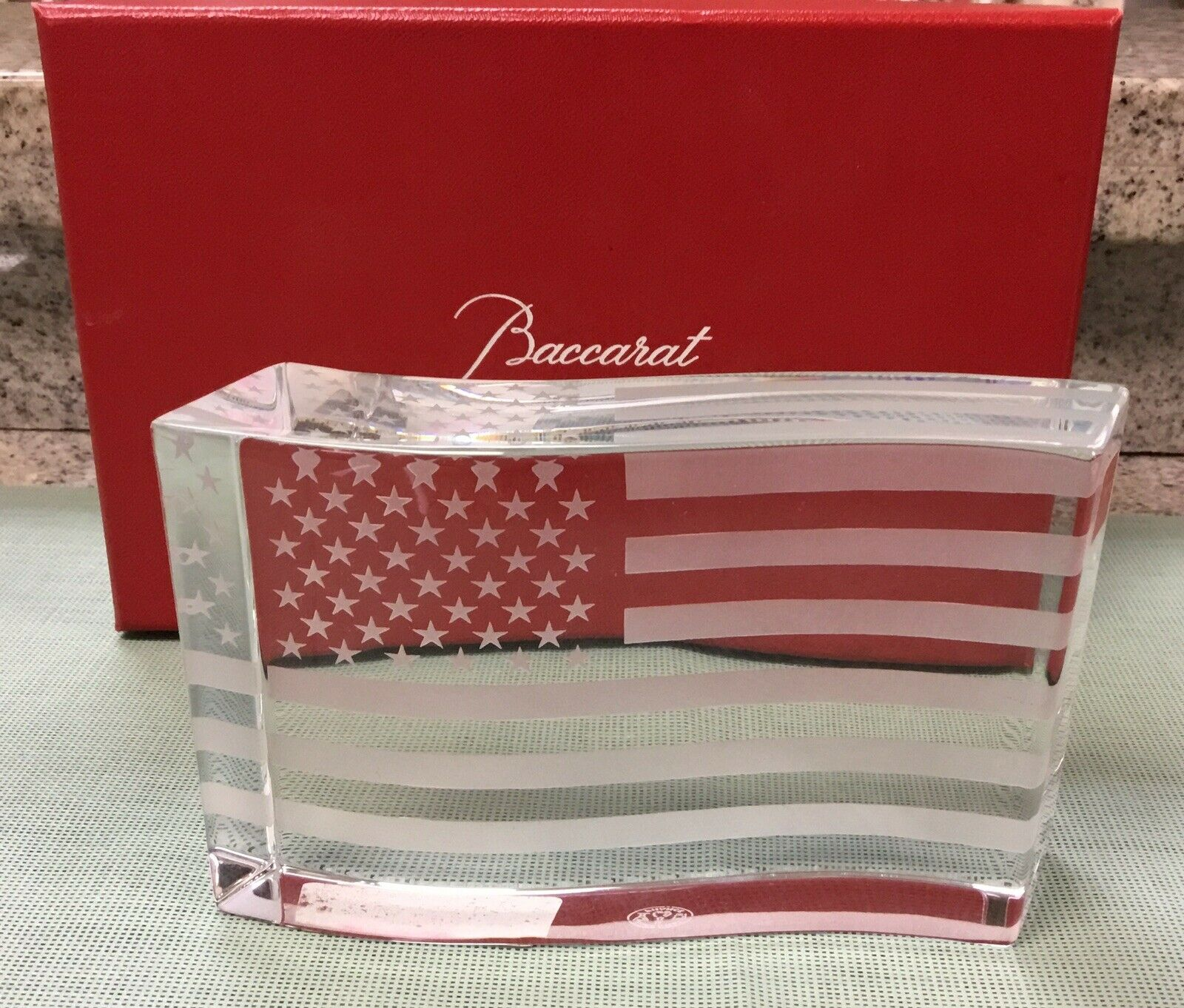 Baccarat Stars and Stripes Crystal Paperweight