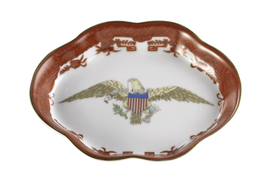 Diplomatic Service American Eagle Porcelain Ring Tray (Orange)