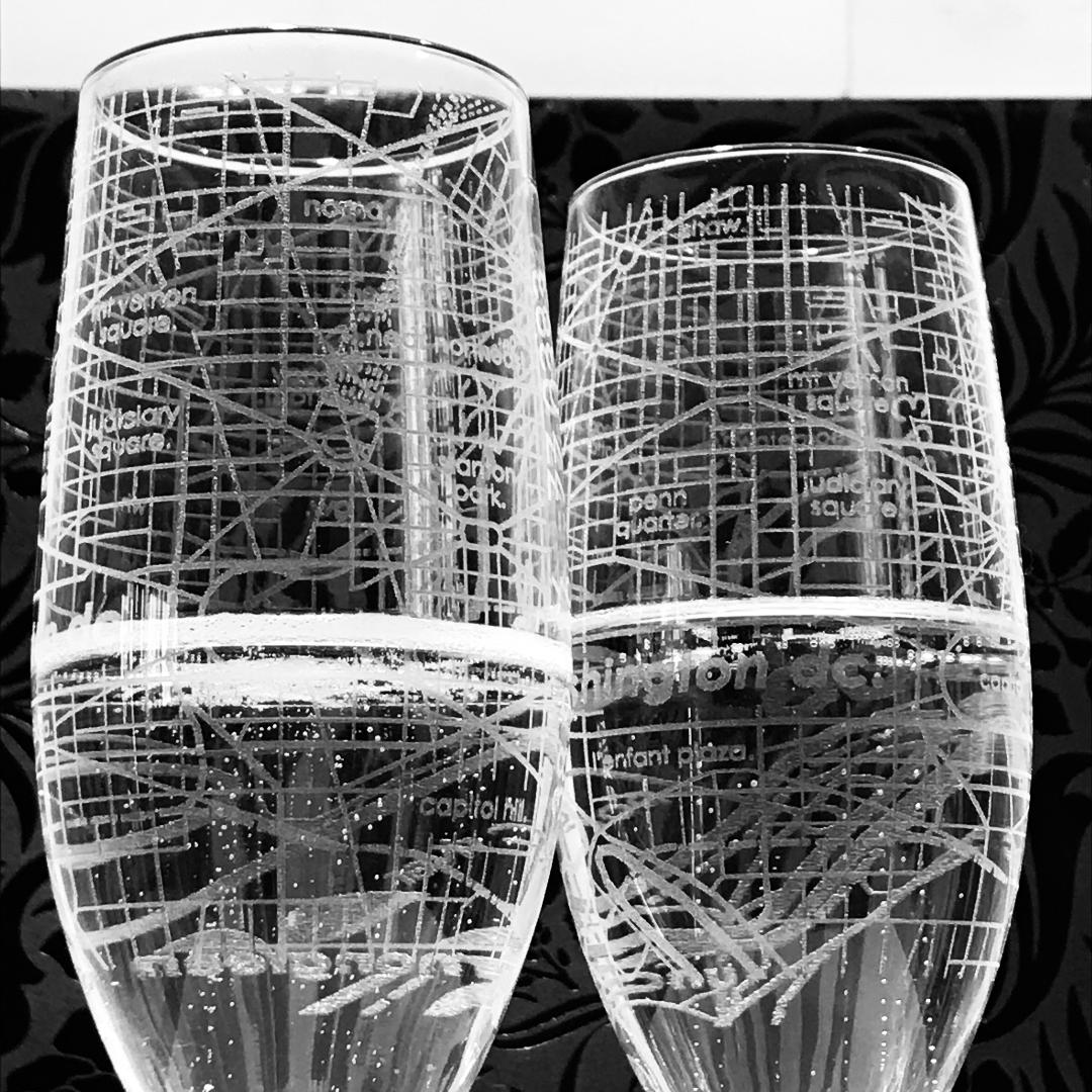 DC Neighborhoods Etched Glass Stemmed Flute (Pair)