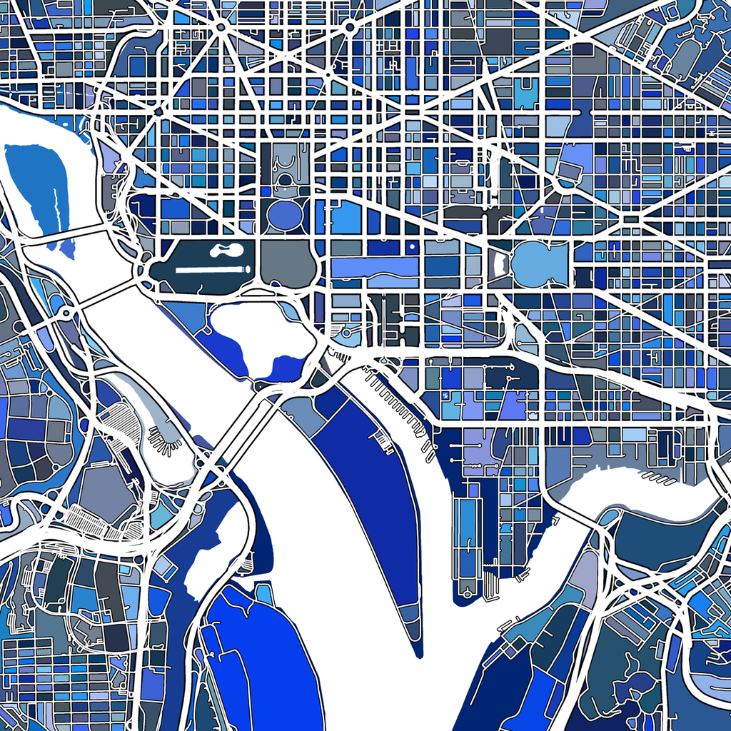 image regarding Washington Dc Printable Map known as Rhapsody inside Blue: Washington Mosaic Map Print