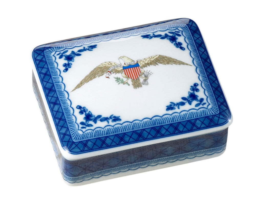 Diplomatic Service American Eagle Square Porcelain Trinket Box