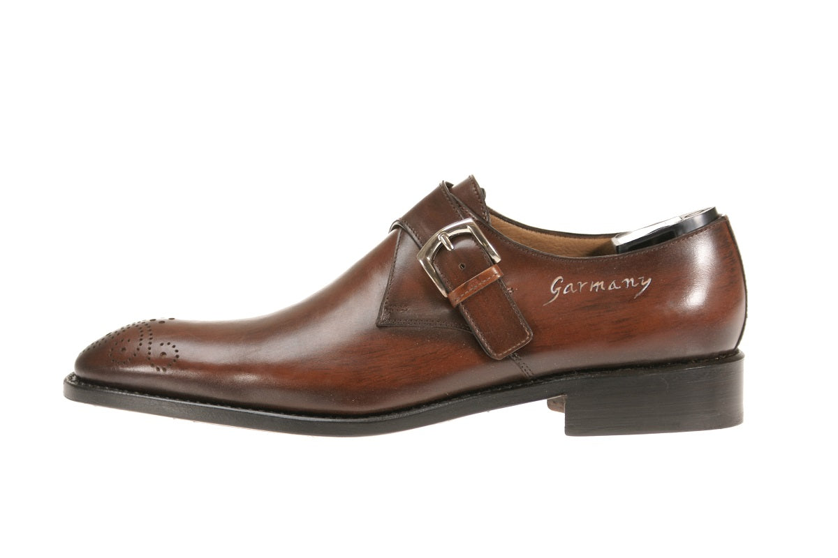 Toronto Custom Leather Monks Shoes for Men's Handmade Italy
