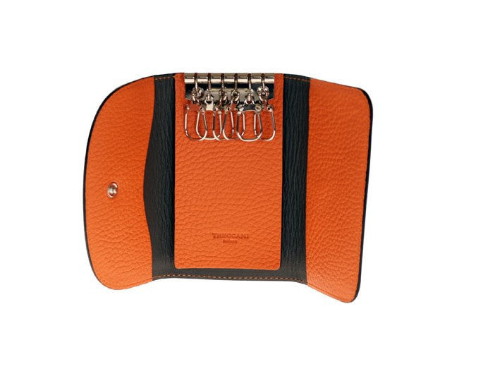 Italian leather, key holder, Treccani Milano, Orange leather
