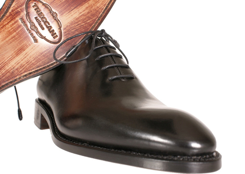 A Pair Of Black Whole Cut Treccani Milano BeSpoke Shoes