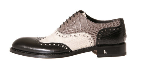Norvegia Alligator-Embossed Oxford Shoes