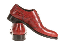 Custom Finest Alligator Red Men's Italian Shoes to Buy Online
