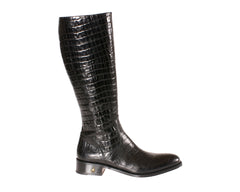 Black Riding Boots Toronto in Embossed Alligator
