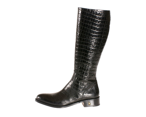 Vittoria Black Alligator Riding Boot