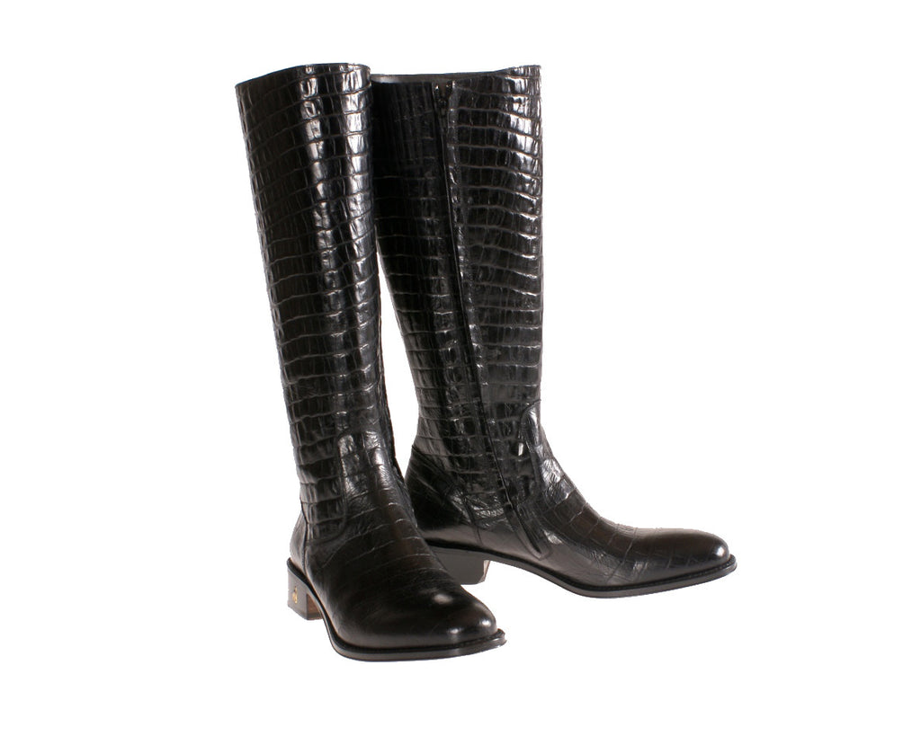 d93531a05b5 Toronto Black Alligator Embossed custom riding boots ~ size 5 boots ~alligator  boots ~