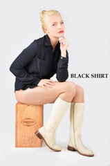 Silk Dress Shirt Cream - Black - Navy Blue