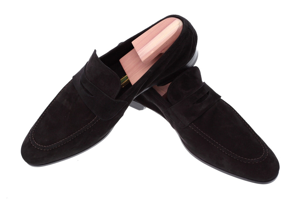 889bc3137bf6f Men's Black Suede Penny Loafers Hand Crafted in Italy – Treccani Milano