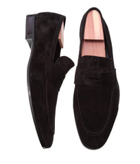 Where To Buy in Toronto or Online Formal Finest Italian Penny Loafer Shoes in Black Suede Leather
