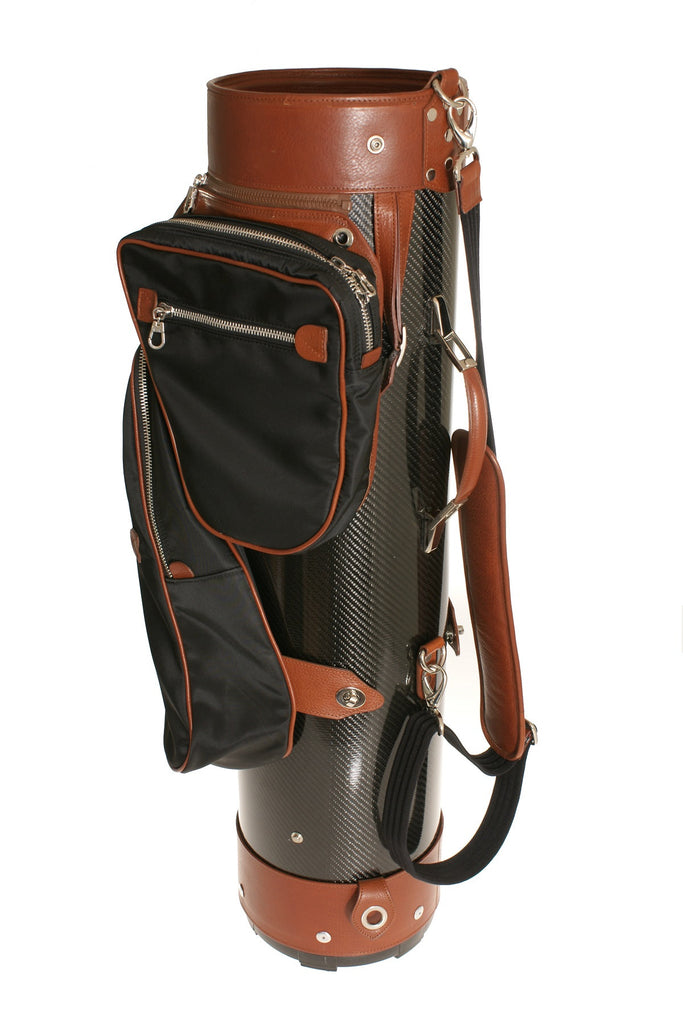 Luxury Golf Bag In Leather And Carbon Fiber Light