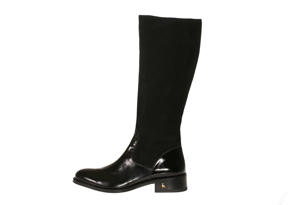 Vittoria Black Suede Patent Riding Boot