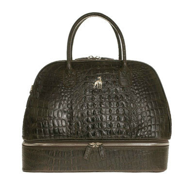 Duffle Leather Bag Brown Printed Alligator