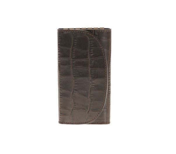 Key Holder in Brown Printed Alligator Leather