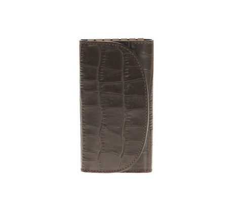 Leather Key Holder Printed Alligator Brown