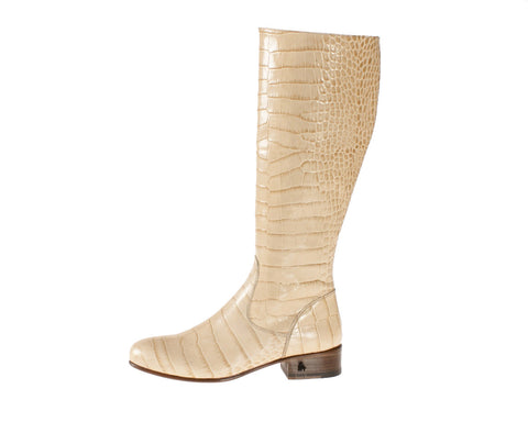 Vittoria Beige Alligator Riding Boot