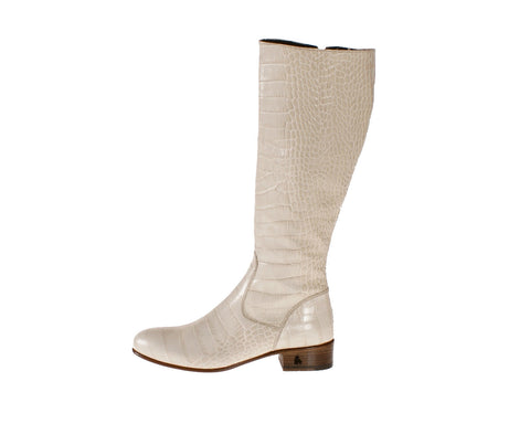 Vittoria White Alligator Riding Boot