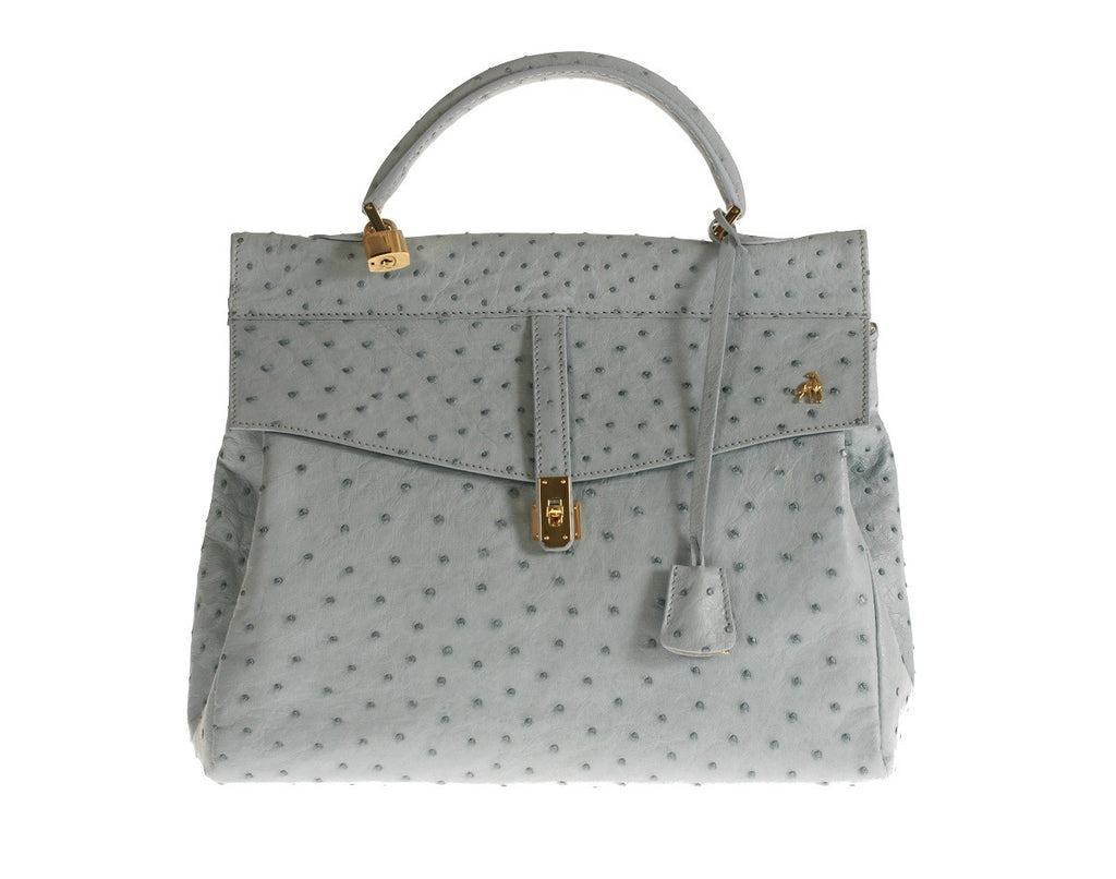 Firenze Blue Ostrich Leather Bag