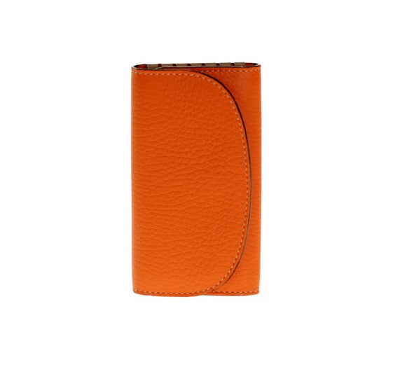 Leather Key Holder in Orange Calf