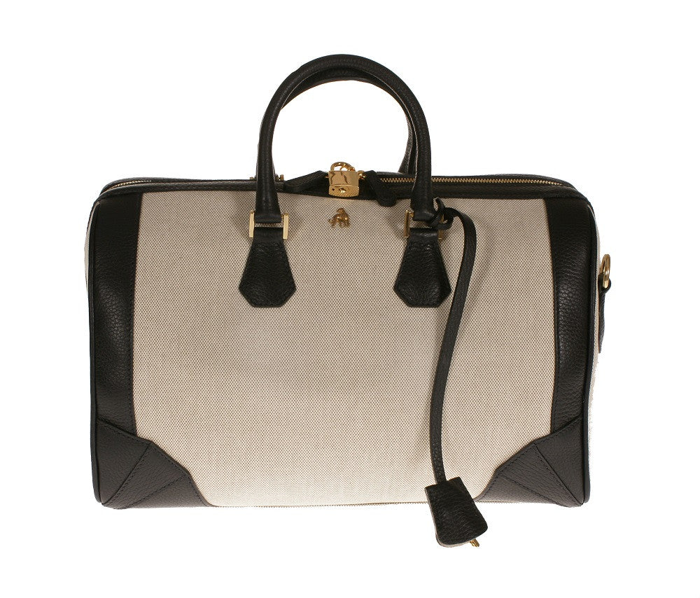 Brenna Black Canvas Satchel