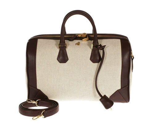 Brenna Burgundy Canvas Satchel Last Call