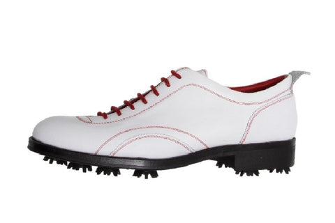 Verona White Calfskin Golf Shoes