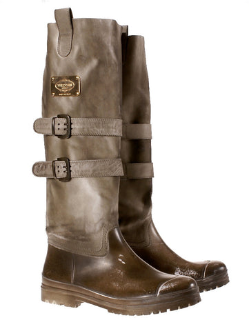 Woman Leather Rain Boots Brown LAST CALL | US size 11