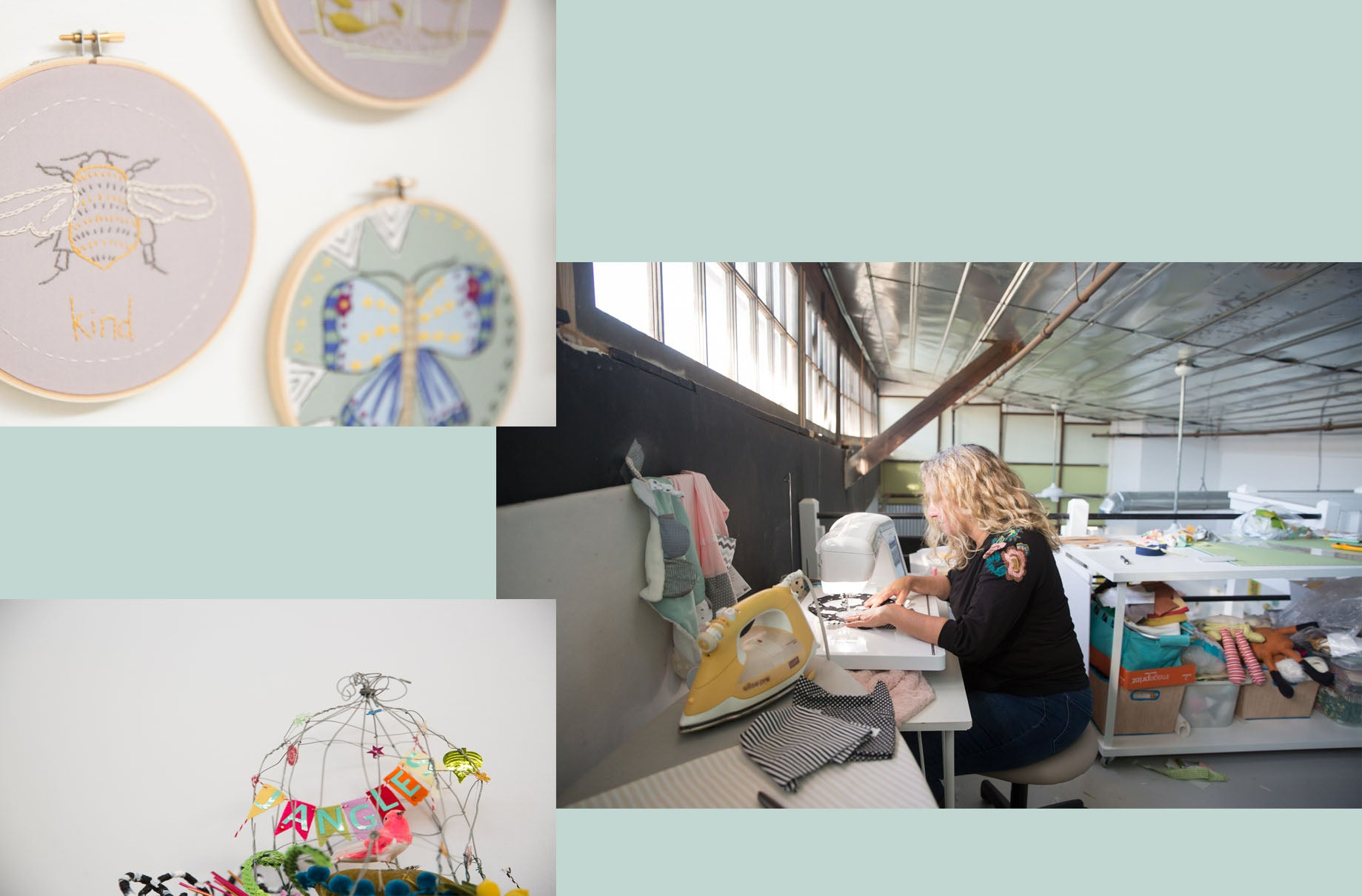 Designer Jennifer Heynen sewing in her Athens, GA studio