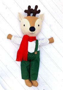 Darby Deer doll featured in the Willow and Darby Deer Make a Friend Sewing Pattern by Jennifer Jangles