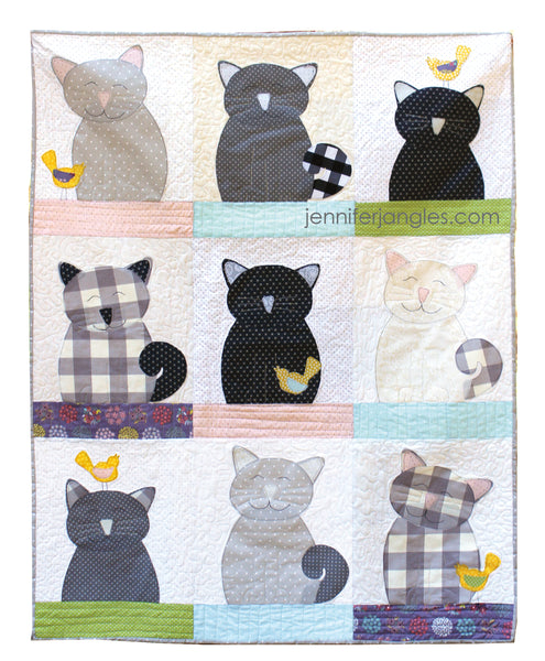 Cats and Canaries Applique Quilt Pattern - PDF Emailed Pattern